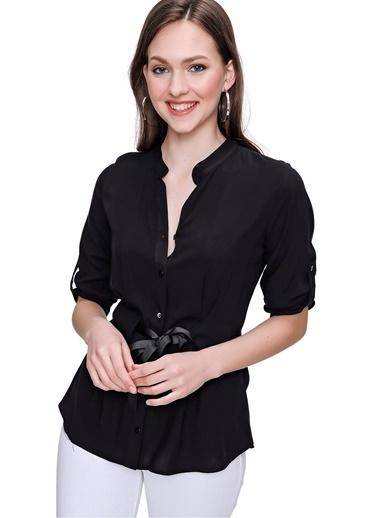 Butikburuç Kadın Siyah Beli Kurdele Bağlamalı Gömlek Siyah